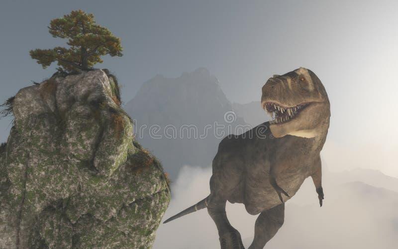 Tyrannosaure Rex dans la jungle illustration de vecteur