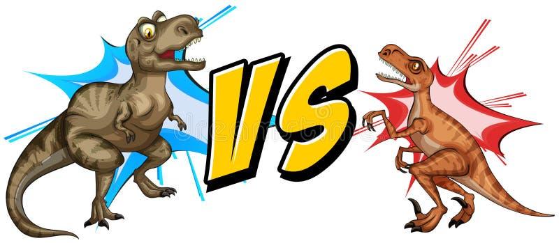 Tyrannosaurus bój z ptakiem drapieżnym royalty ilustracja