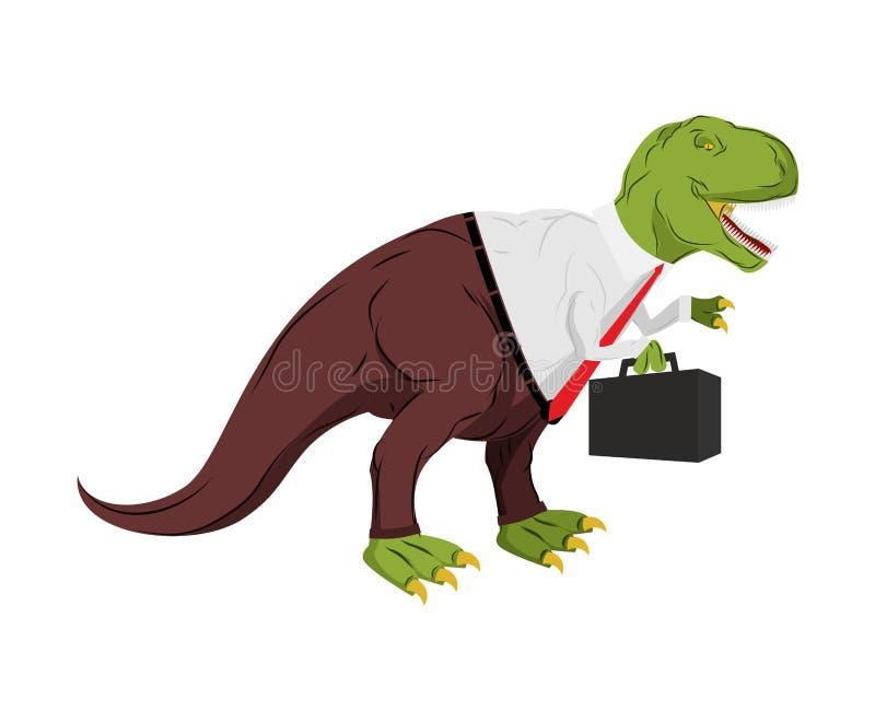 Tyrannosaurus biznesmen Dino szef Szef z skrzynką royalty ilustracja