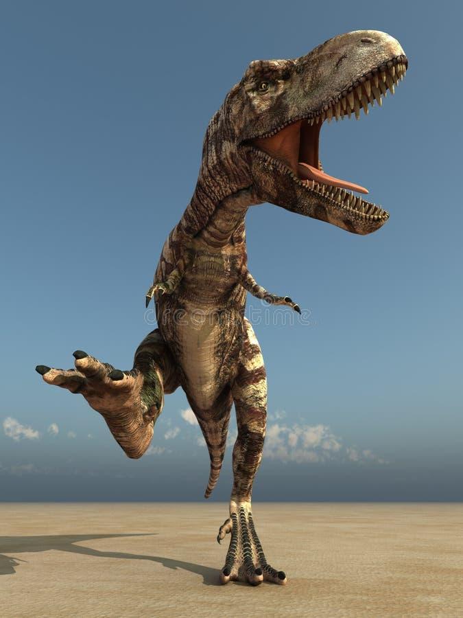 Tyrannosaurus courant dans le désert illustration de vecteur