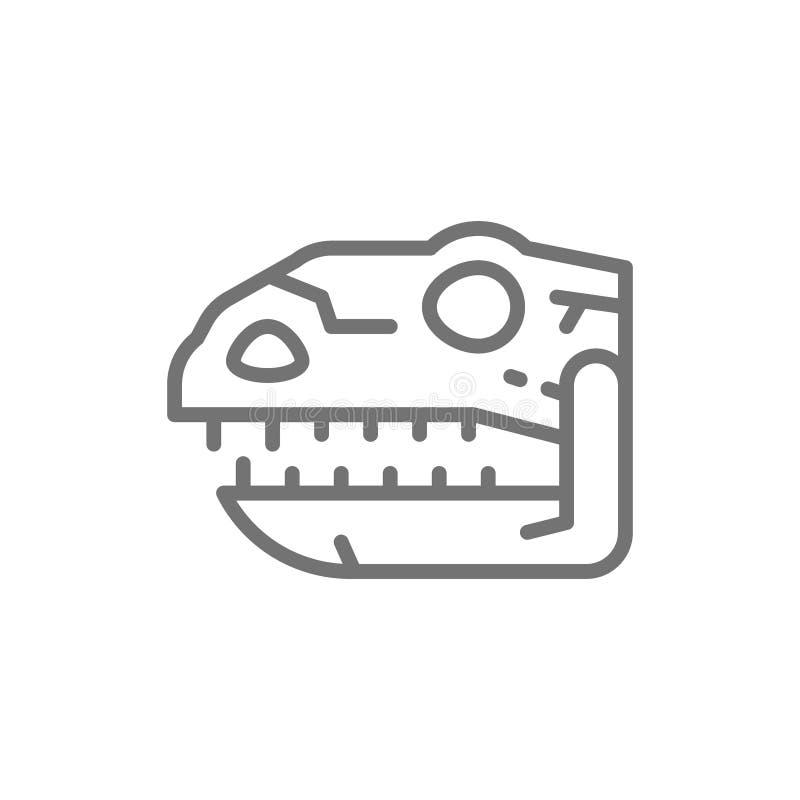 Tyrannosaurus czaszka, t-rex głowa, dinosaur kości, prehistoryczna czas linii ikona ilustracji