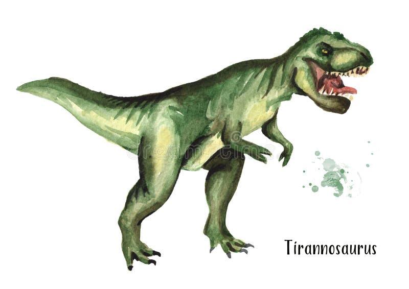 Tyrannosaurus dinosaur Akwareli ręka rysująca ilustracja, odizolowywająca na białym tle ilustracja wektor