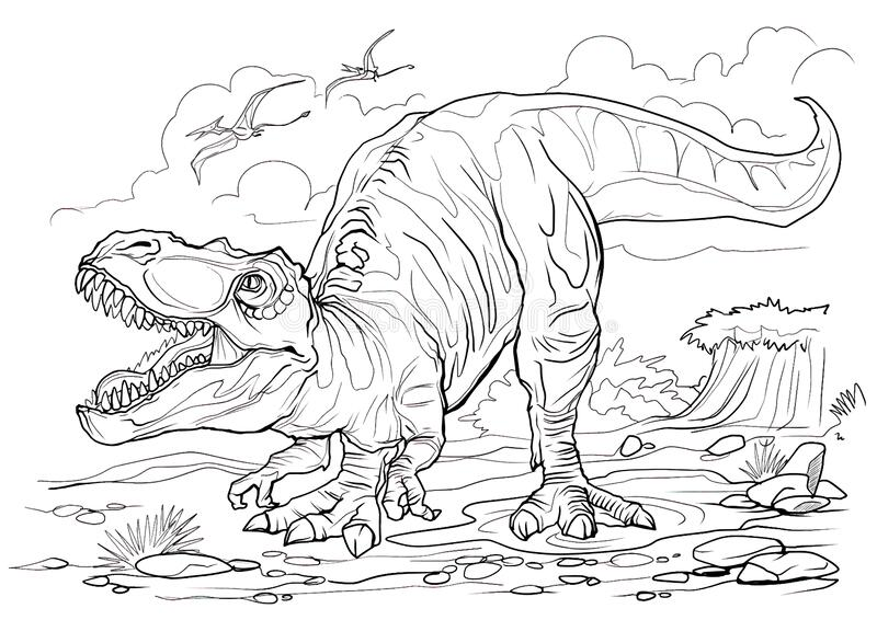 Dinosaurs Battle - Dinosaurs Adult Coloring Pages | 566x800