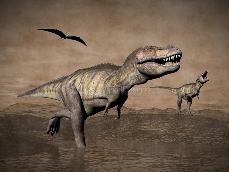 Tyrannosaurus dinosaurs - 3D render stock illustration