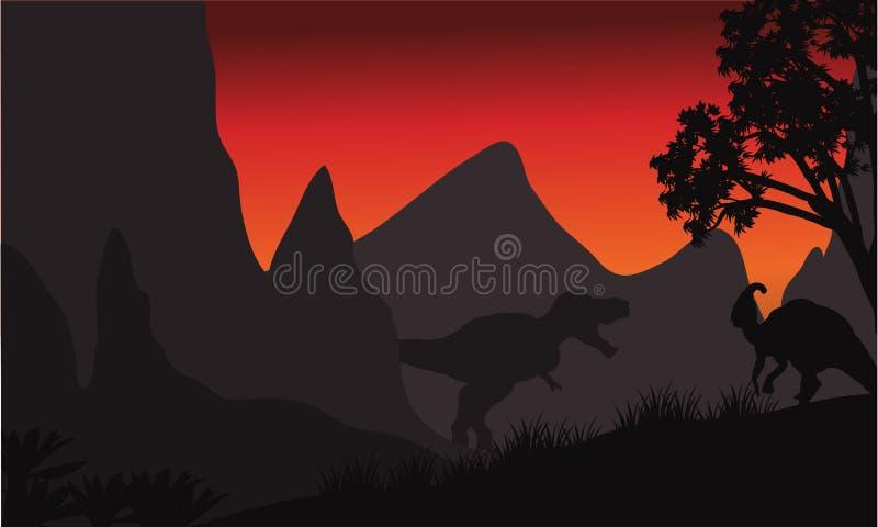 Tyrannosaurus en parasaurolophussilhouet in heuvels vector illustratie