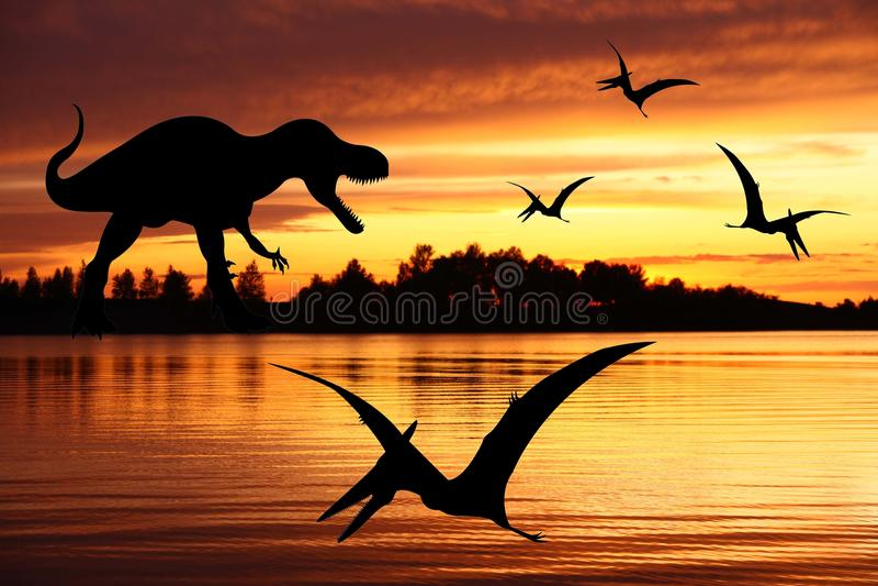 tyrannosaurus för pterodactylrex två arkivfoton