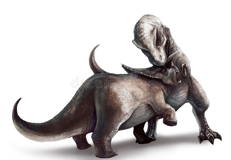 Download Tyrannosaurus Is Fighting Triceratops Stock Illustration - Image: 28661289