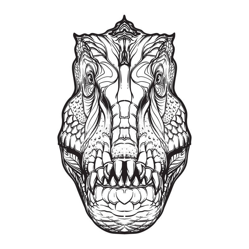 Tyrannosaurus head on white background royalty free stock photos