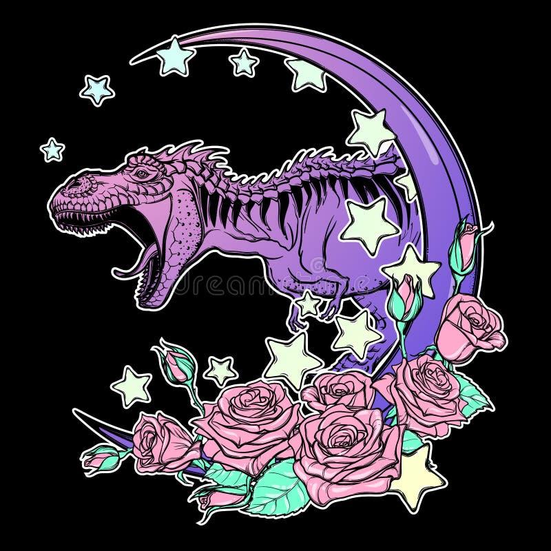 Tyrannosaurus huczenie z księżyc i róży ramą odizolowywającymi na czerni ilustracja wektor