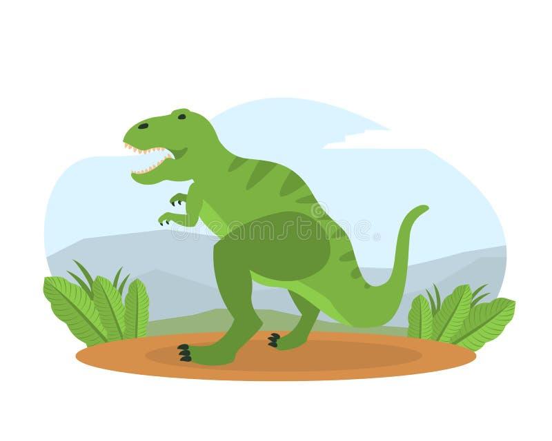 Tyrannosaurus na góra krajobrazie, Prehistoryczny zwierzę na natura wektoru ilustracji ilustracji