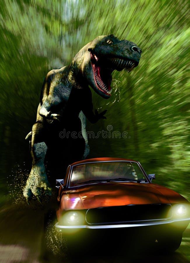 Tyrannosaurus pościg ilustracja wektor