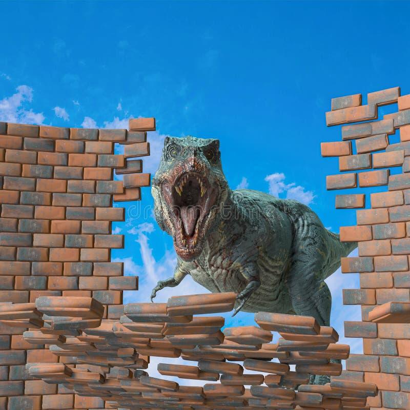 Tyrannosaurus rex in action breaking the brick wall royalty free illustration
