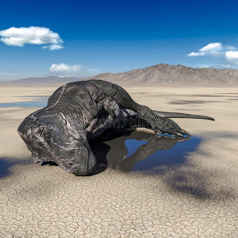 Tyrannosaurus Rex Is Dead On Desert Drone View Stock ...