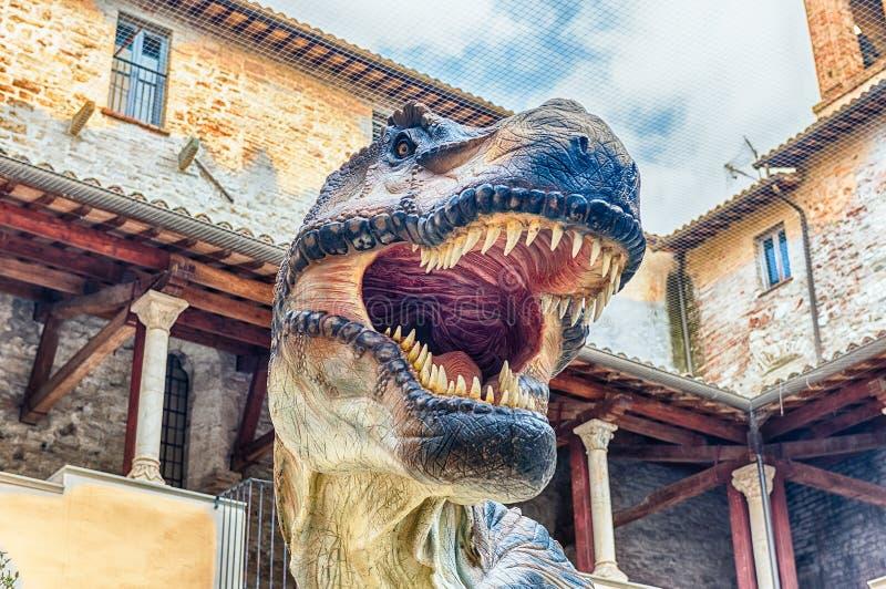 "Tyrannosaurus Rex dinosaur, aka t-rex, at exhibition in Gubbio,. GUBBIO, ITALY - JANUARY 13: Tyrannosaurus Rex dinosaur featured in the exhibition "" stock photos"
