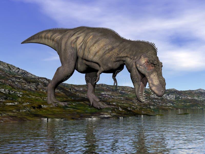 Tyrannosaurus rex dinosaur - 3D render royalty free illustration