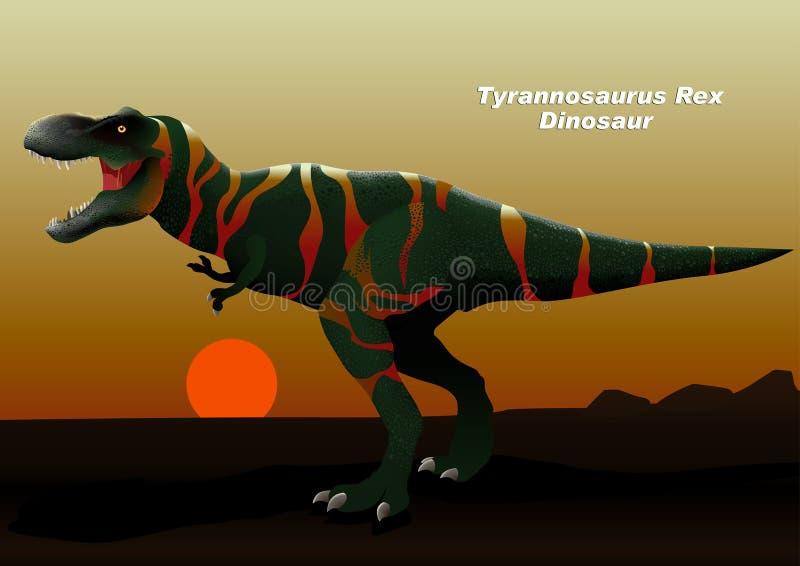 Tyrannosaurus Rex Dinosaur die bij zonsondergang lopen vector illustratie