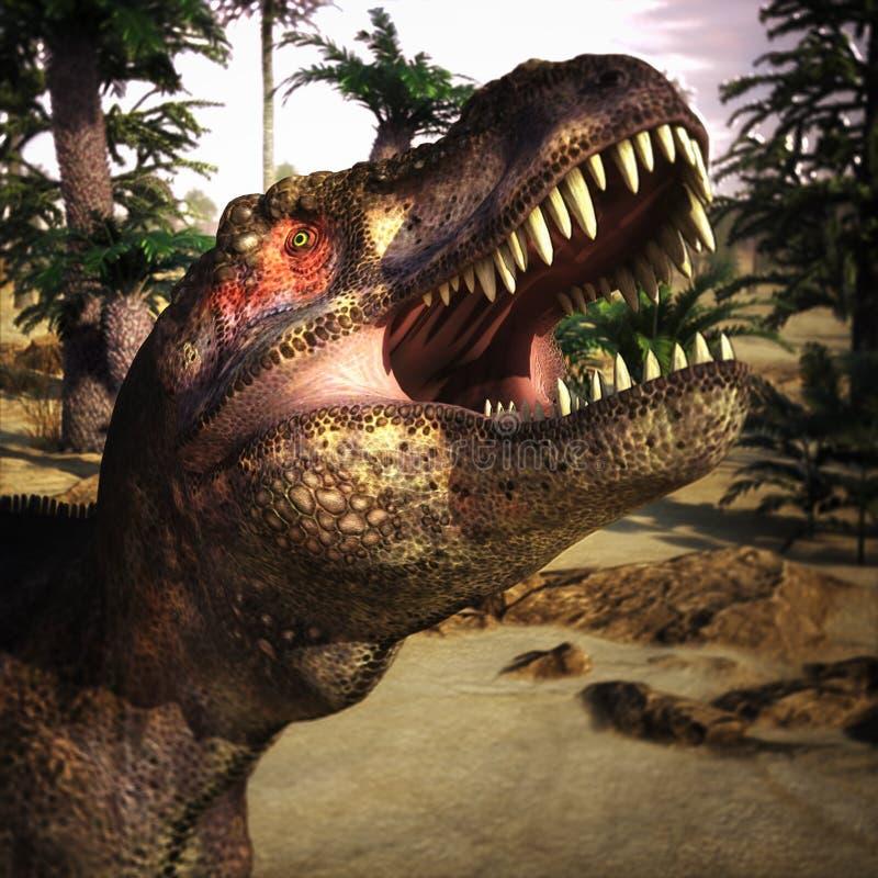 Tyrannosaurus rex dinosaurs in pre-historic forest landscape, vintage style - 3D render vector illustration