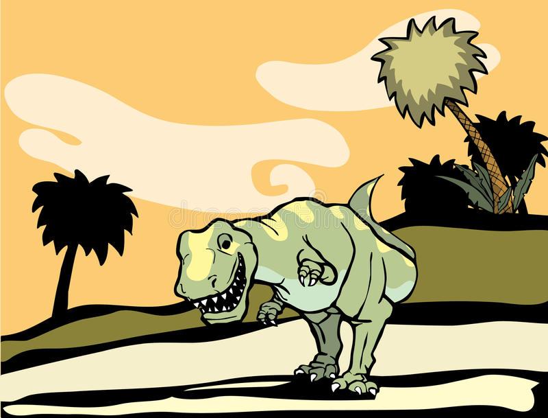 Tyrannosaurus Rex en naturaleza. ilustración del vector