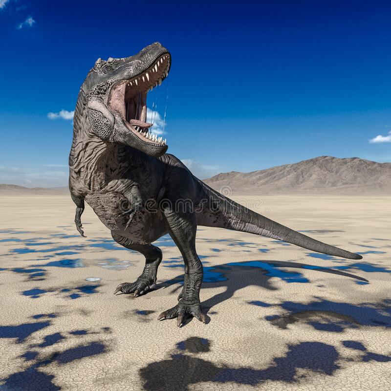 Free Tyrannosaurus Rex Is Angry On Desert Stock Images - 182723324