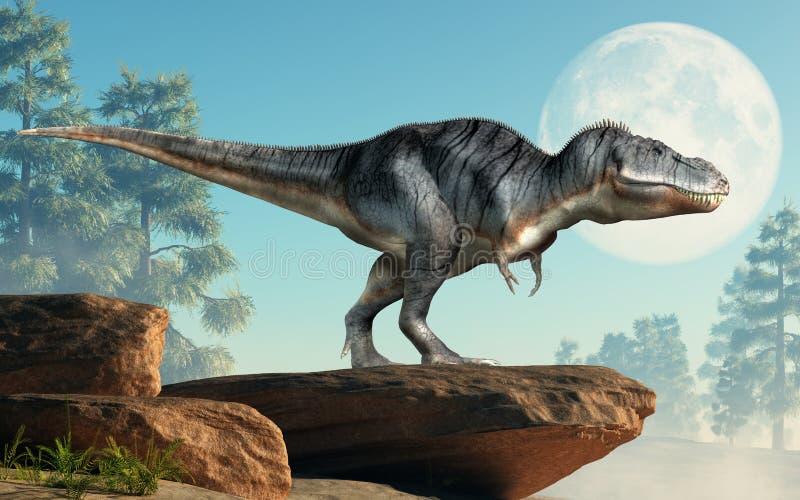 Tyrannosaurus Rex na falezie ilustracja wektor