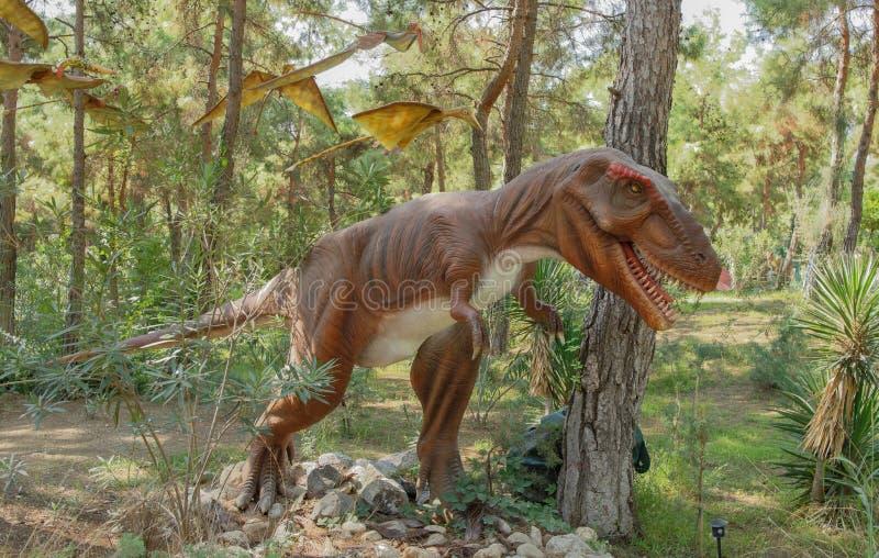 Tyrannosaurus rex-recent Krijtachtig /150-65 miljoen jaren geleden In stock afbeelding