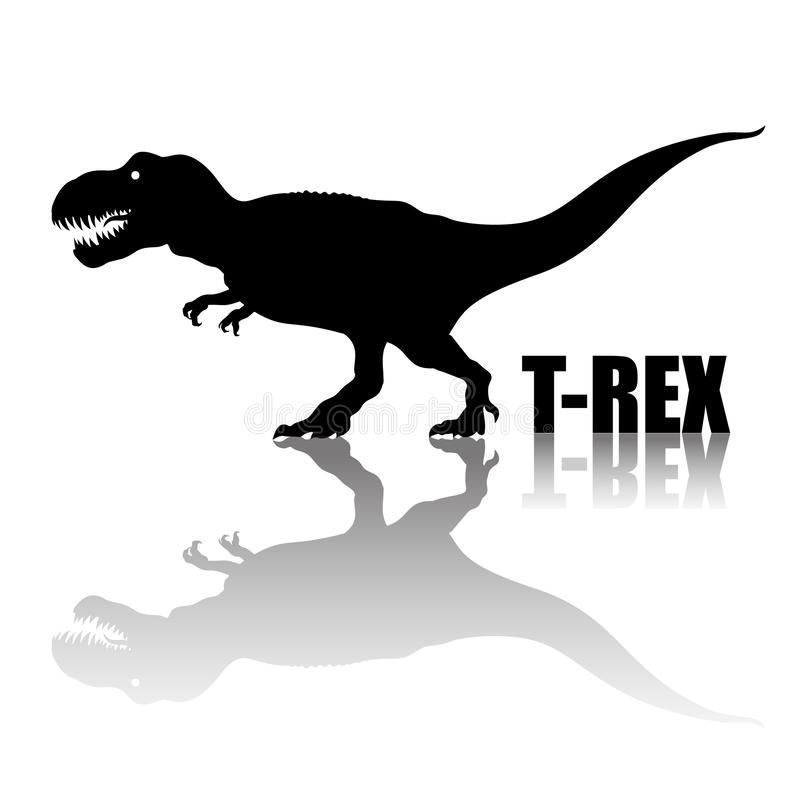 Tyrannosaurus Rex. Silhouette with transparent reflection. arnivorous dinosaur. T rex walking and roaring. Hand drawn vector illustration