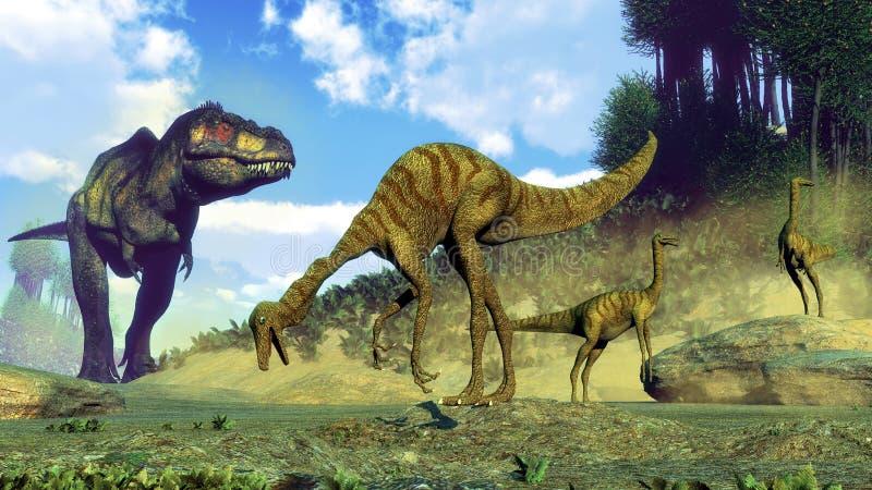 Tyrannosaurus rex surprising gallimimus dinosaurs royalty free illustration