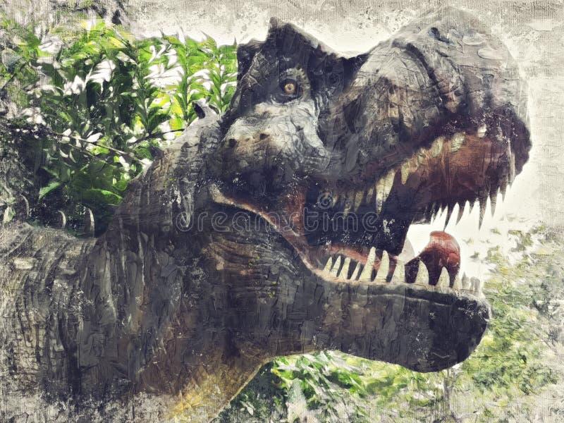 Tyrannosaurus Rex, T-REX. Digital Art Impasto Oil Painting Abstract. stock photo
