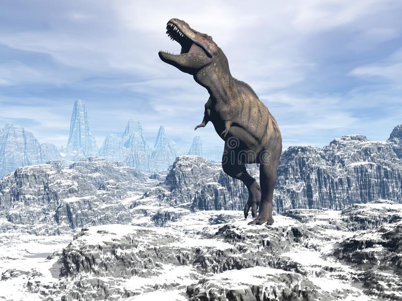 Tyrannosaurus in the snow - 3D render royalty free illustration