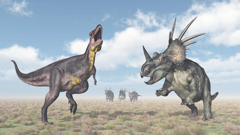 Tyrannotitan attaque le Styracosaurus illustration de vecteur