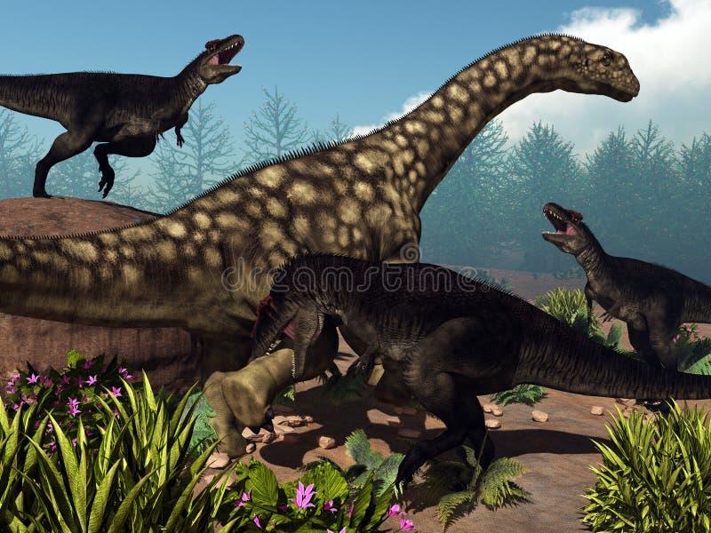 Tyrannotitan, das einen Argentinosaurusdinosaurier in Angriff nimmt - 3D übertragen lizenzfreie abbildung