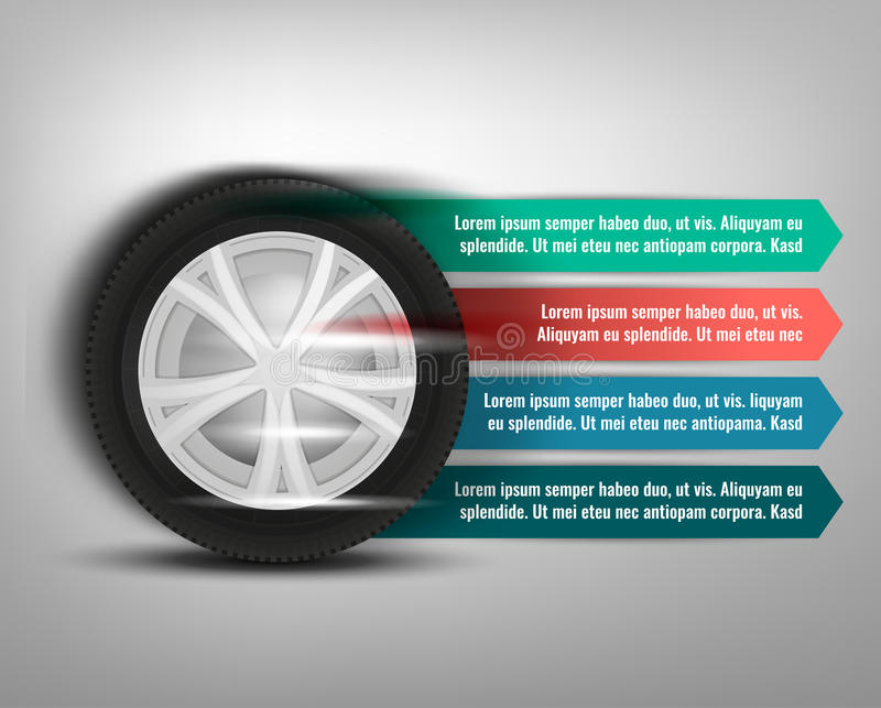 Tyre Banner Image. Vector tyre banners image. Modern idea for the landscape flyer, poster or leaflet design. Editable graphic layout with copyspace in grey, blue royalty free illustration