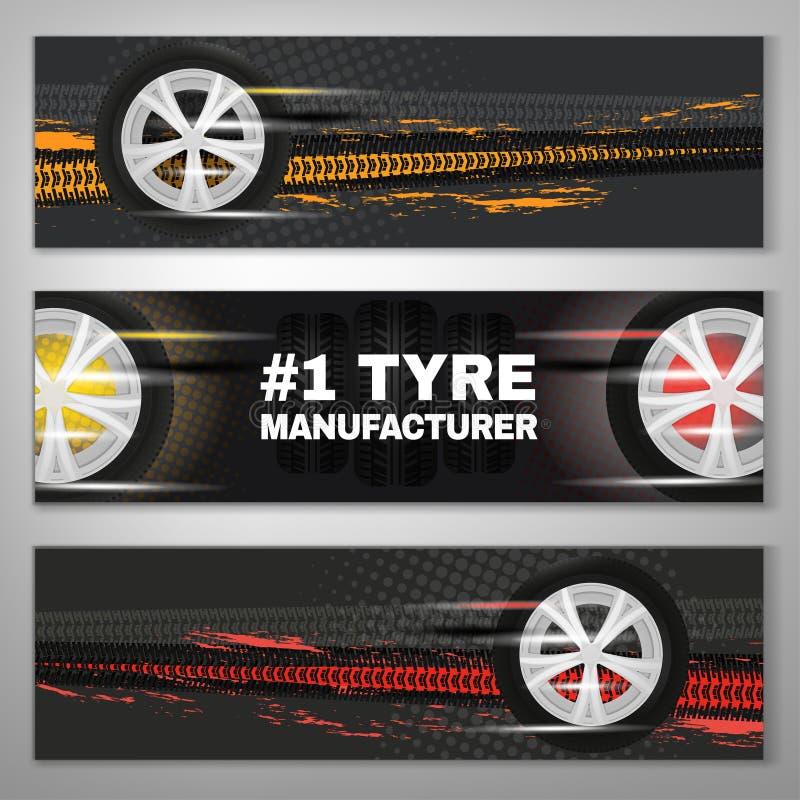 Tyre Banner Set. Vector tyre banners set image. Modern idea for landscape digital banner, flyer, poster and leaflet design. Editable graphic layout with vector illustration