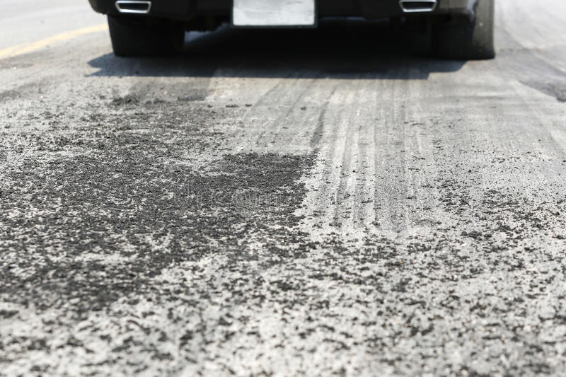 Tyre burnout marks on asphalt road royalty free stock image