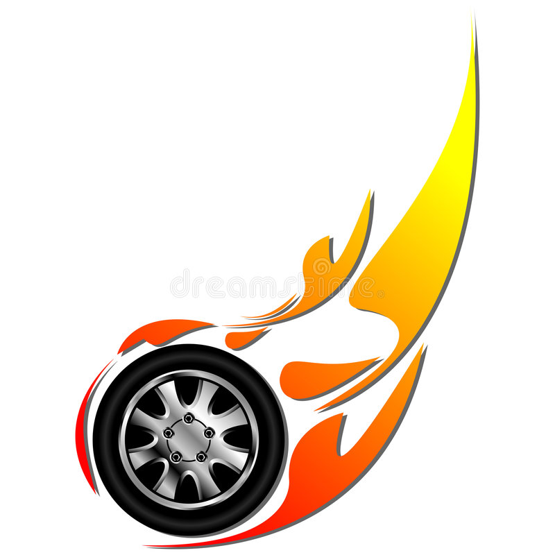 Tyre on fire. Sport tyre on fire isolated over white background royalty free illustration