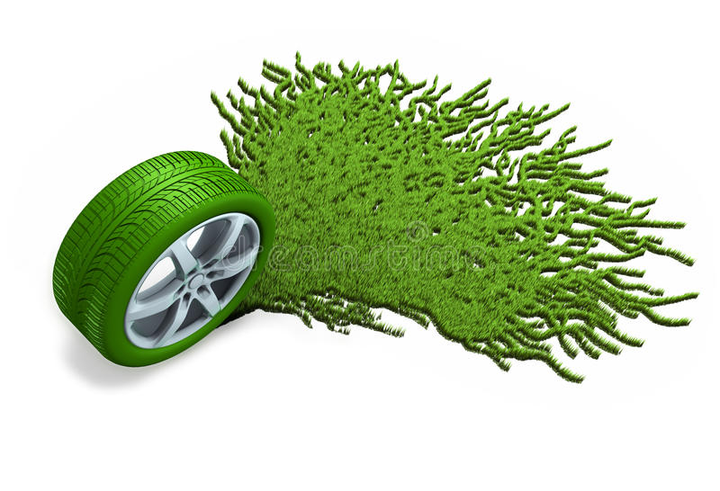 Tyre and grass. (3D illustration over white background stock illustration