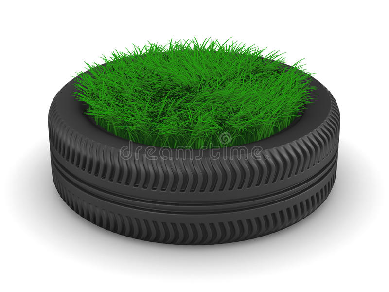 Tyre With Grass On White Background Stock Images