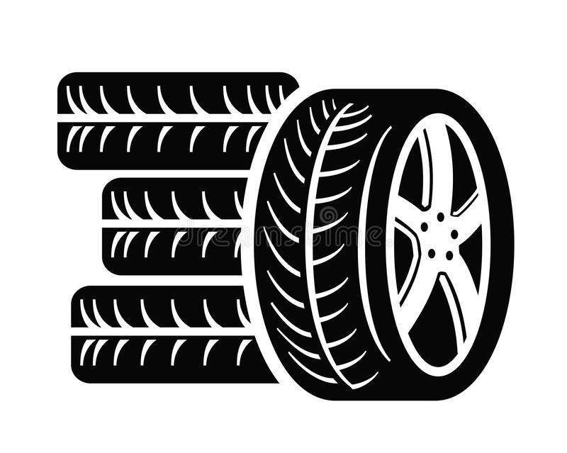 Tyre icon. Vector black tyre icon on white background royalty free illustration
