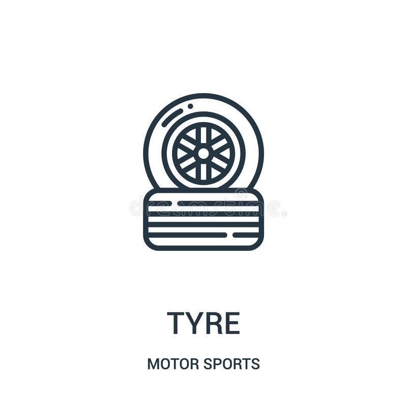 tyre icon vector from motor sports collection. Thin line tyre outline icon vector illustration. Linear symbol stock illustration