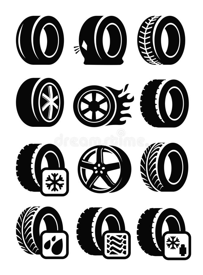 Tyre icons. Vector black tyre icons set on gray vector illustration