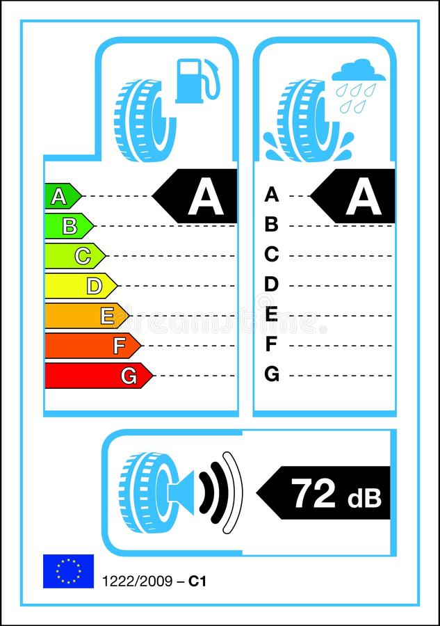 Tyre label. Tyre new rating graph label in vector vector illustration