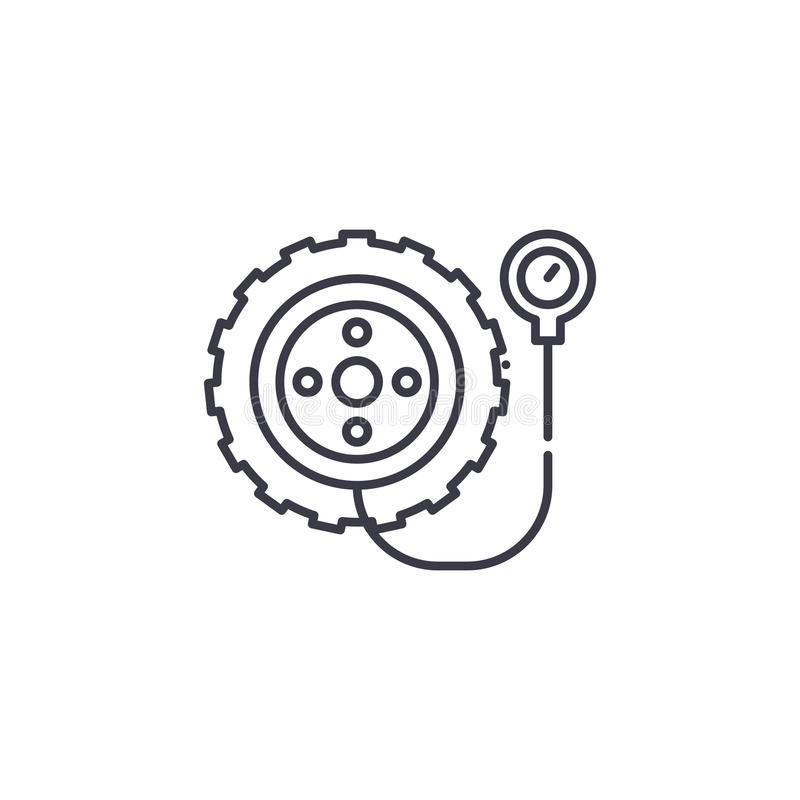 Tyre linear icon concept. Tyre line vector sign, symbol, illustration. royalty free illustration
