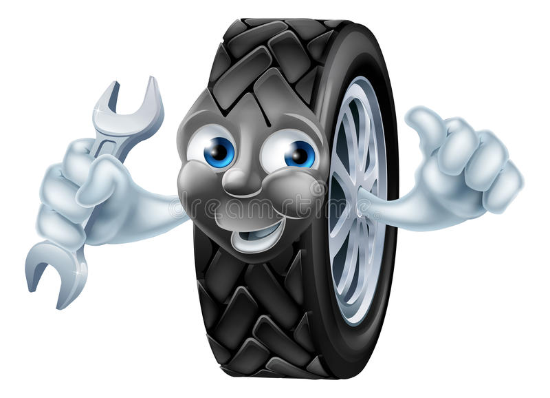 Tyre mascot character with spanner stock illustration