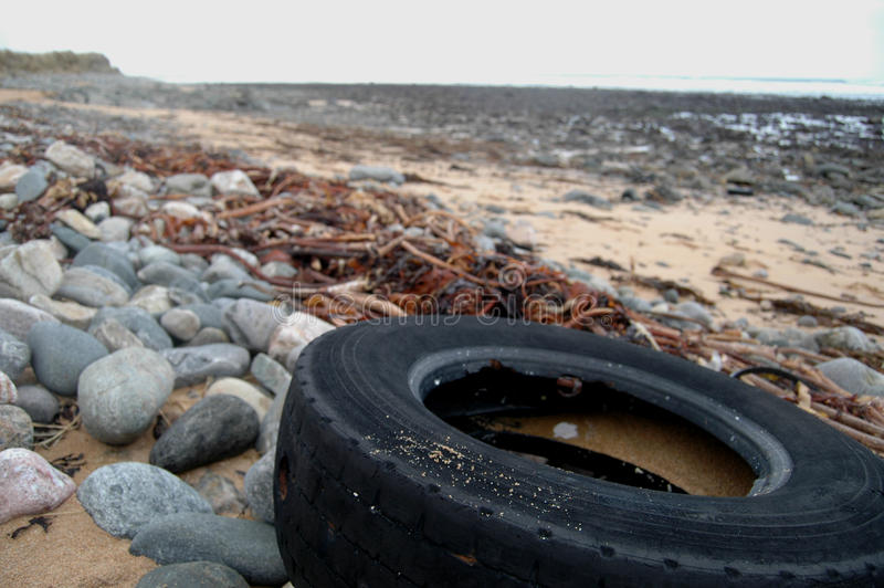 Tyre polluting beach. Rubber tyre washed up on beach amid seaweed stock photos