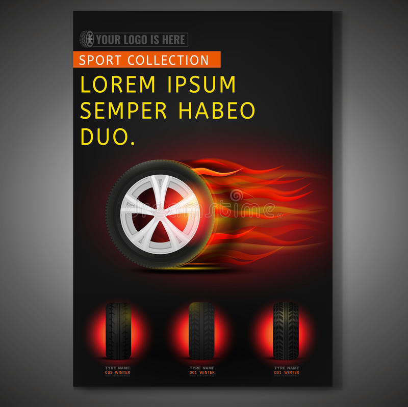 Tyre Poster Image. Vector burning tyre poster template. Modern idea for flyer, book, booklet, brochure and leaflet design. Editable vertical graphic layout with royalty free illustration
