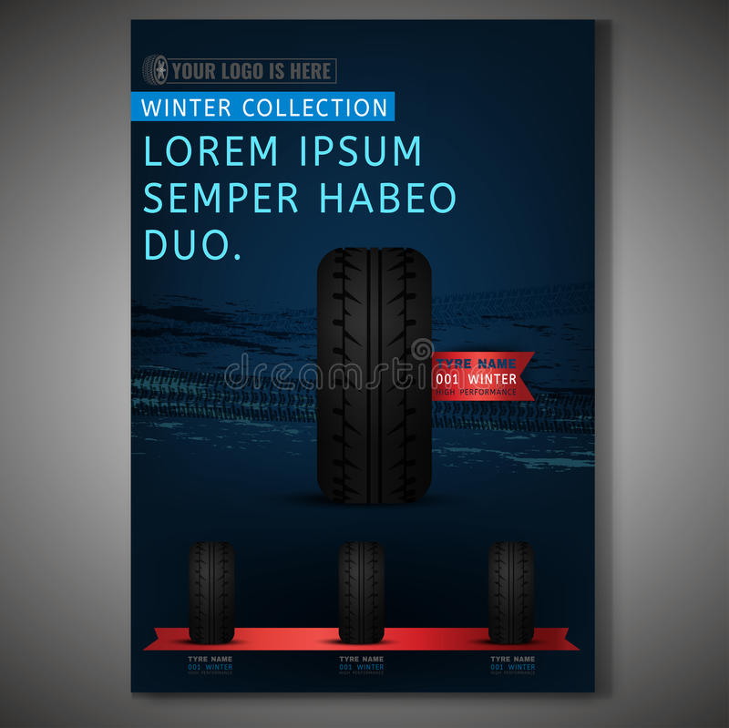 Tyre Poster Image. Vector Tyre poster template. Modern idea for flyer, book, booklet, brochure and leaflet design. Editable graphic layout with copyspace in dark stock illustration