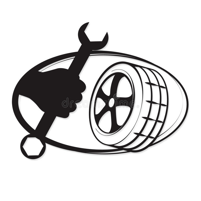 Tyre repair. Vector symbols for the business royalty free illustration