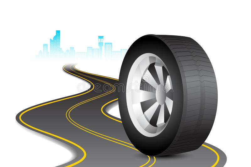 Tyre on Road. Illustration of rolling tyre on road in cityscape background stock illustration