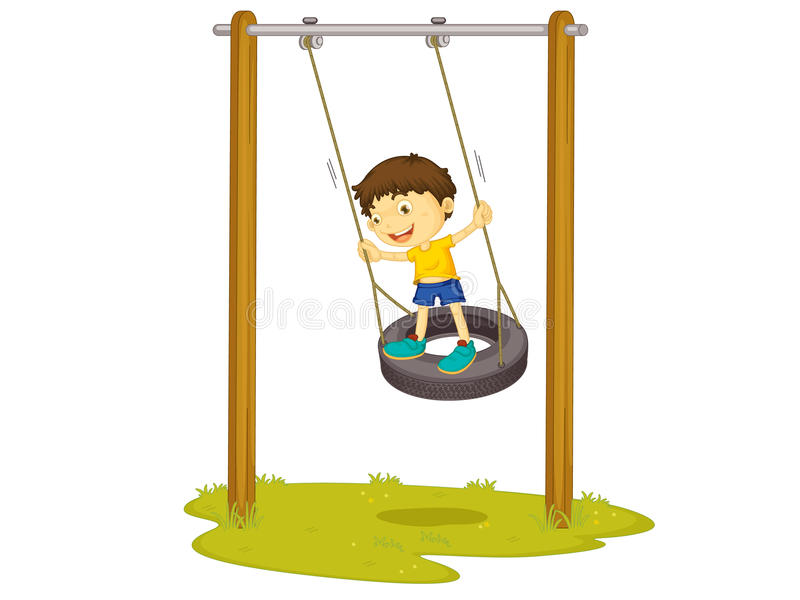 Tyre swing. Illustration of a boy on a tyre swing royalty free illustration