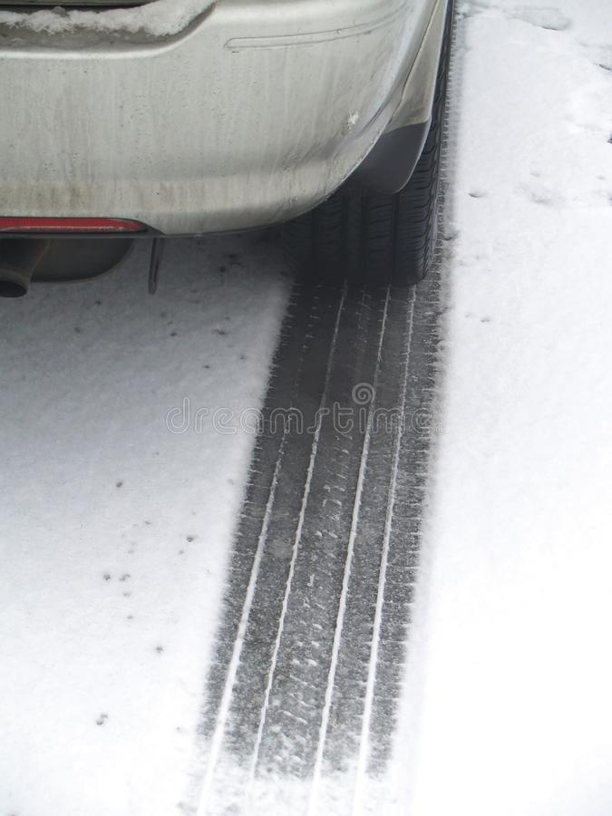 Tyre Track In Snow Royalty Free Stock Image